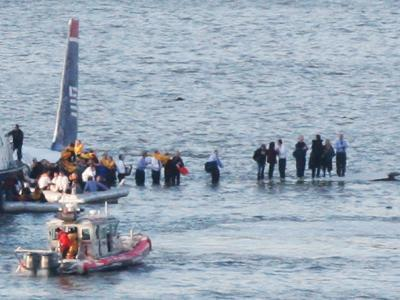 Passengers in an Inflatable Raft, Moving Away from a US Aircraft That Has Gone Down in Hudson River