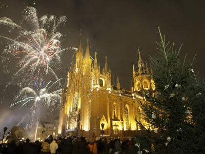 People Celebrate Christmas Eve, Front of Moscow's Catholic Church of Immaculate Conception, Russia