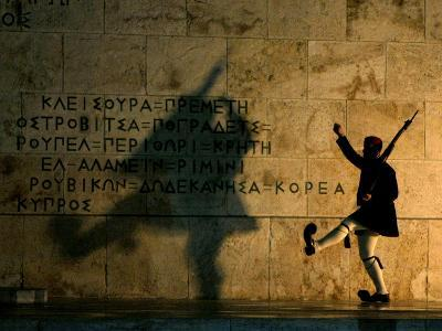 Greek Presidential Guard Marches at the Tomb of the Unknown Soldier in Athens