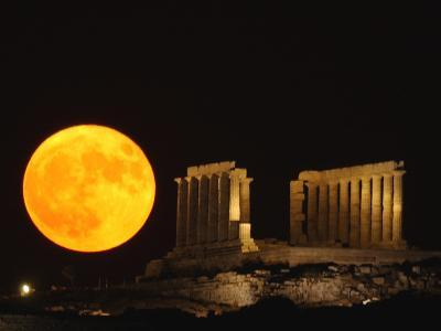 Full Moon Rises Behind the Ancient Temple of Posseidon, in Sounio