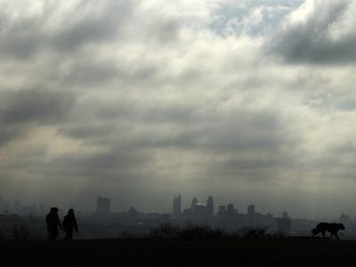 People and a Dog are Silhouetted Against a Landscape of Central London
