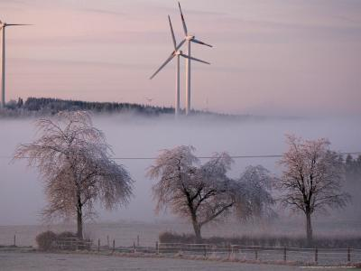 Wind Generators in Eifel Region Mountains Near Hallschlag, Germany, December 29, 2006