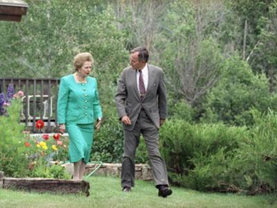 President George H. Bush and Margaret Thatcher