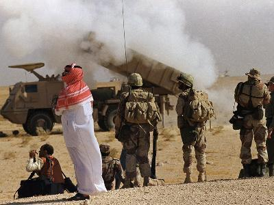 Saudi Arabia Army Soldiers Watching Multiple Rocket Launch System