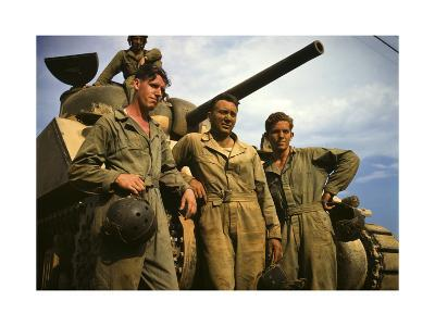 Tank Crew Leaning on M-4 Tank, Ft. Knox, Ky.