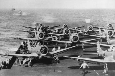 Us Navy Aircraft Carrier before the Attack Agaist Japan