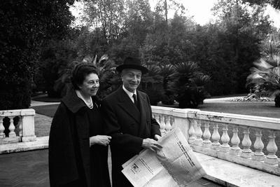 Antonio Segni and His Wife at the Quirinale Gardens