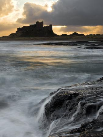 View of Bamburgh Castle at Sunset, UK