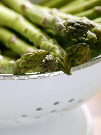 Asparagus, Washed Green Asparagus Spears in a Colander