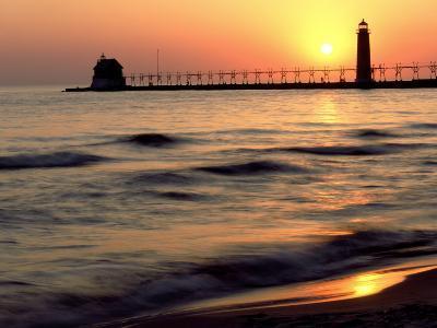 Sunset Light on Grand Haven Lighthouse, MI