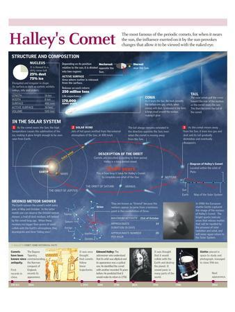 Infographic of the Composition and Orbit of Comet Halley