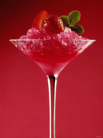 Strawberry Sorbet in a Stem Glass