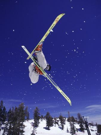 Low Angle View of a Skier in Mid Air
