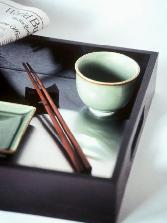 Asian Bowl, Chopsticks and Newspaper on Tray