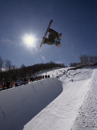 Snowboarder with Sunburst