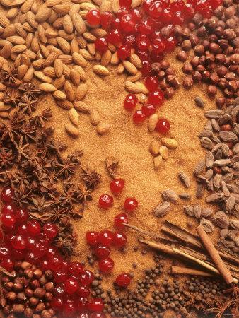 Spices, Nuts, Almonds and Cherries Forming a Surface