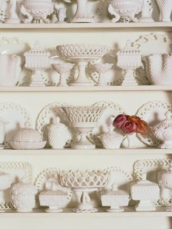 White Pottery on Shelves