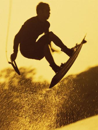 Silhouette of a Man Wakeboarding