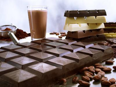 Bar of Chocolate with Cocoa, Cocoa Powder and Cocoa Beans