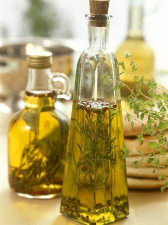 Oil with Herbs and Spices in Two Bottles