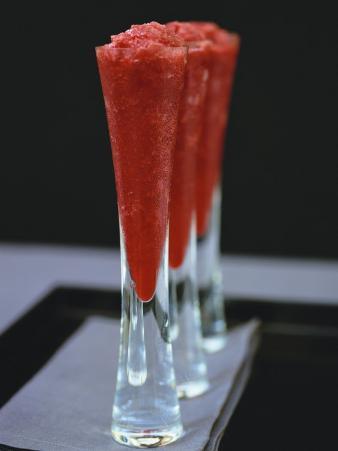 Raspberry Granita in Three Glasses