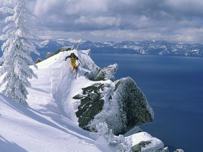 Skier Atop a Mountain