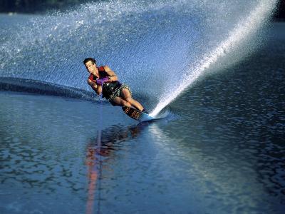 Skier Speeding, Water Spraying