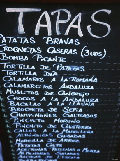 Tapas Menu On Blackboard In A Bar Photographic Print By