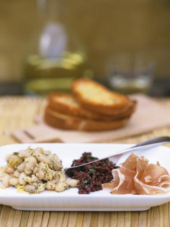 Tapas Plate: Beans with Lime, Olive Tapenade, Ham