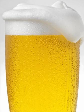 Pils with Head of Foam in Glass with Condensation