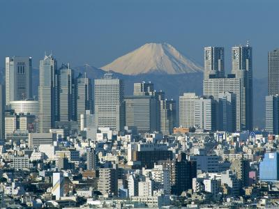 Mount Fuji and City Skyline, Tokyo, Honshu, Japan
