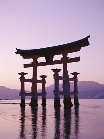 Sunset, Torii Gate, Itsukushima Shrine, Miyajima Island, Honshu, Japan