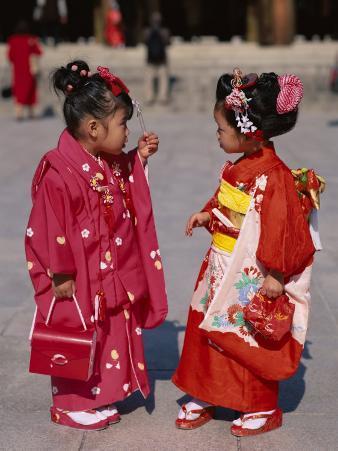 Girls Dressed in Kimono, Shichi-Go-San Festival (Festival for Three, Five, Seven Year Old Children)