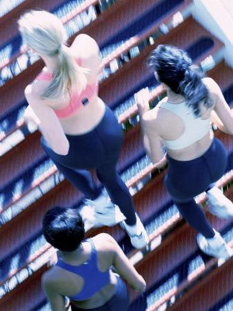 High Angle View of Three Young Women Jogging