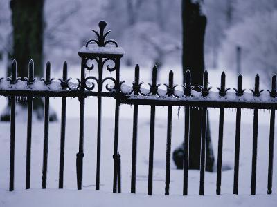 Metal Fence in a Snow Covered Landscape