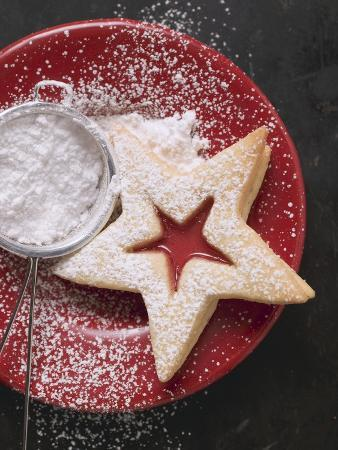 Jam Biscuit on Plate with Icing Sugar