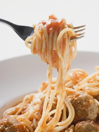 Spaghetti with Meatballs and Tomato Sauce on Fork