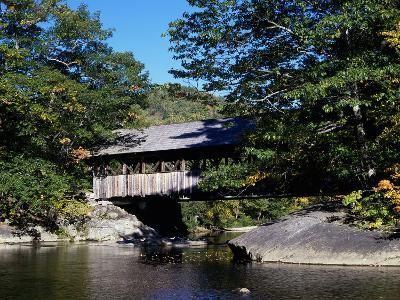 Covered Bridge, Gold Brook Bridge, Stowe, Vermont, USA