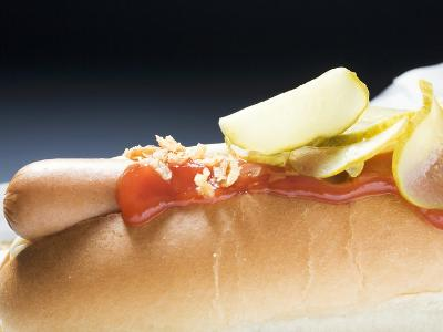 Hot Dog with Ketchup and Gherkins