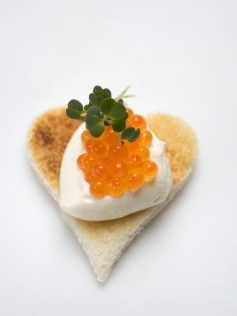 Canapé: Sour Cream and Keta Caviar on Toast