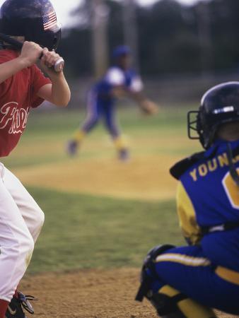Three Boys Playing Baseball