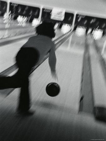 Monochromatic Image of a Woman Bowling