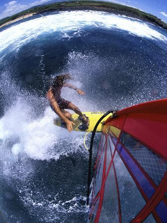 High Angle View of a Person Windsurfing in the Sea