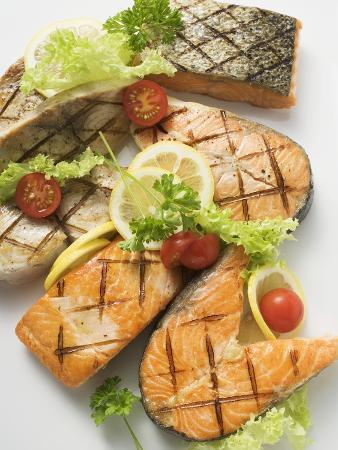 Grilled Cutlets and Fillets of Salmon and Cod