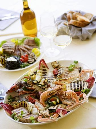Platter of Grilled, Fish, Shellfish and Vegetables