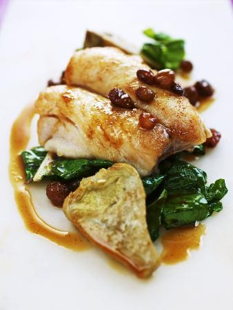 Fillet of Bream with Chard, Artichokes and Raisins