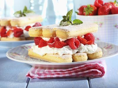 A Layered Dessert Made of Sponge Fingers, Cream and Berries