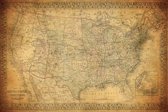Vintage Map Of United States 1867 Photographic Print By Javarman At
