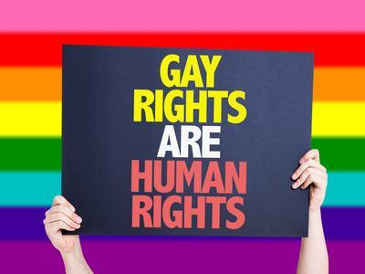 Gay Rights are Human Rights Card with Rainbow Background