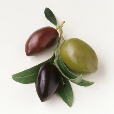 One Red, One Green and One Black Olive